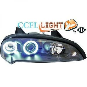 LHD OS NS CCFL Projector Headlights Pair Clear Black For Vauxhall Tigra 94-00