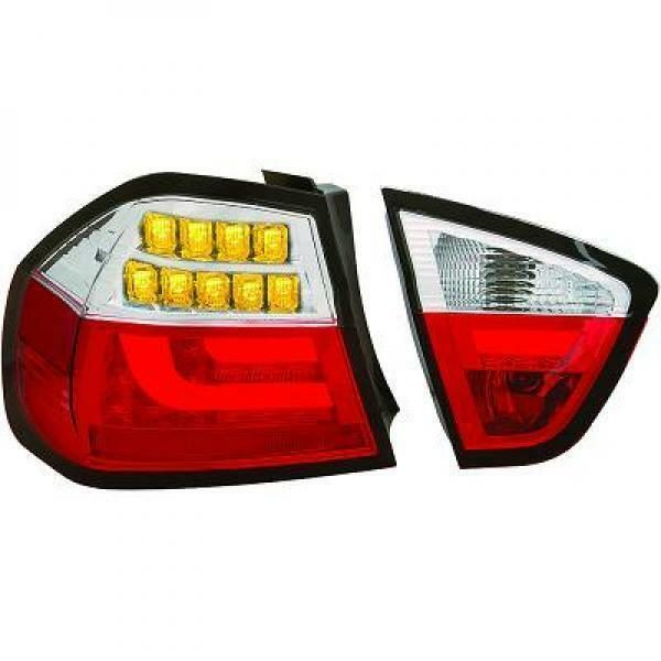 Back Rear Tail Lights Pair Set Clear Red Chrome For BMW E90 05-08