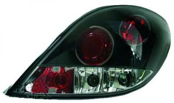 Back Rear Tail Lights Pair Set Clear Black For Peugeot 207 06-12