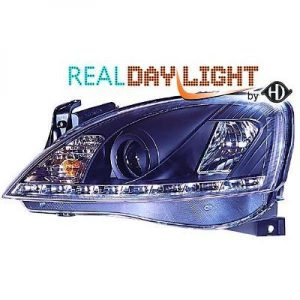 LHD Projector LED DRL Headlights Pair Clear Black For Vauxhall Corsa C 00-06