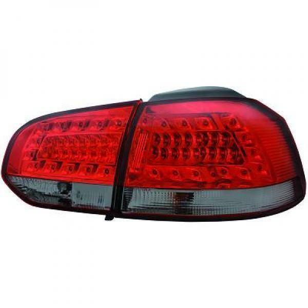 Back Rear Tail Lights Pair Set LED Clear Red Black For VW Golf VI 08-12
