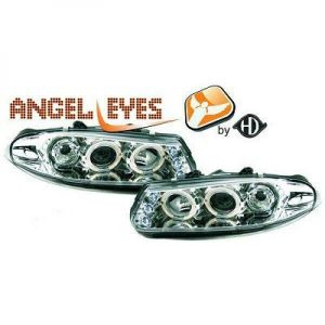 LHD Projector Headlights Pair Angel Eyes Clear Chrome H1 For Rover 200 Serie