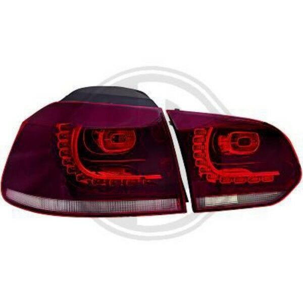 Back Rear Tail Lights Pair Set Dunkel Red For VW Golf VI Saloon 08-12
