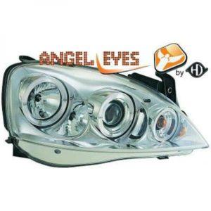 LHD Projector Headlights Pair Angel Eyes Clear Chrome For Vauxhall Corsa C 00-03