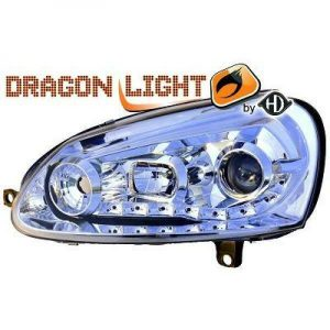 LHD Projector Headlights Pair LED Dragon Clear Chrome For VW Golf V 03-08