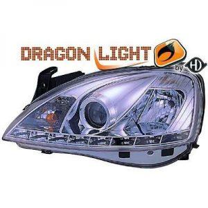 LHD Projector Headlights Pair LED Dragon Clear Chrome For Vauxhall Corsa C 00-03