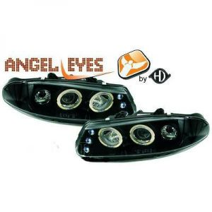 LHD Projector Headlights Pair Angel Eyes Clear Black H1 For Rover 200 Serie