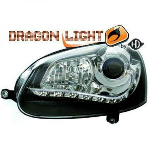 LHD Projector Headlights Pair LED Dragon Clear Black H7 PY21W For VW Golf V