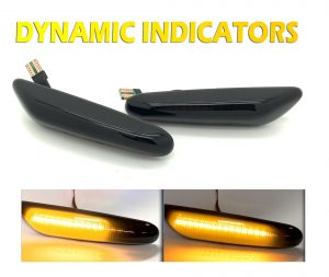 For BMW E8x E9x X1 E84 Black smoked LED Dynamic Sequential Side Repeaters indica