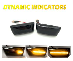 Pair LED Dynamic Sequential Smoked black side repeaters indicators blinkers