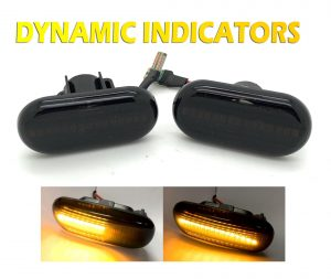 Pair LED Dynamic Sequential Side Repeaters indicators Smoked Black blinkers