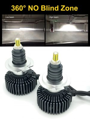 Pair H7 360 LED headlight bulbs 6000K 9000lm canbus