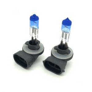 Pair 881 H27W 7500K xenon fog light bulbs 27w superwhite blue glass