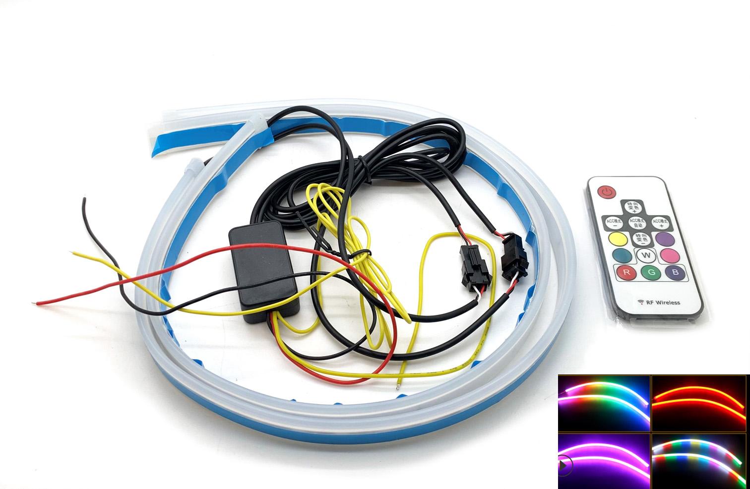CarModShop 2 x 60cm flexible DRL lightbar remote RGB Multicolour strips dynamic indicator