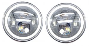 7 Inch Round Full Projector LED Headlights black with DRL & Indicator