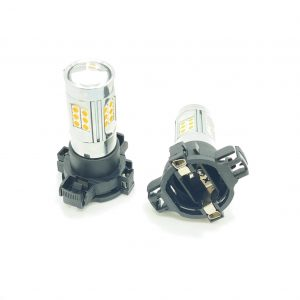 Pair 24W PY24W 3030 SMD LED yellow amber indicator bulbs 12190SV