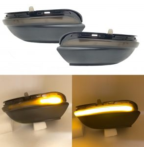 Pair black smoked LED dynamic wing mirror indicators for VW