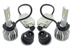 Pair D2S D2R LED headlight bulbs to replace xenon HID