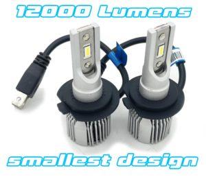 Pair H7 V12F micro LED headlight bulbs 12000lm canbus