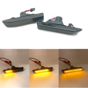 Pair Smoked black dynamic side repeaters blinker for BMW x5 E53