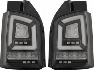 Pair LED smoked back lightbar rear tail lights for VW Transporter T5.1 2010-15